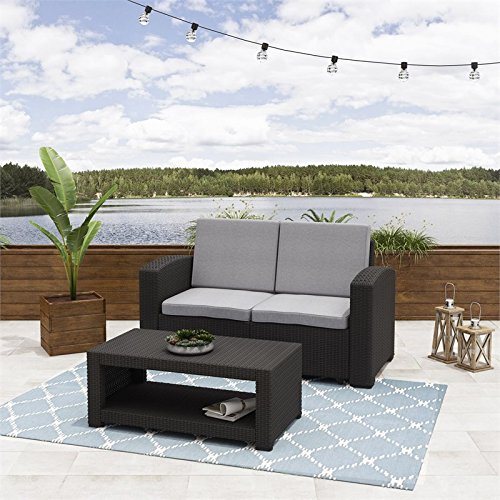 2pc-All-Weather-Black-Loveseat-Patio-Set-with-Light-Grey-Cushions-0-0