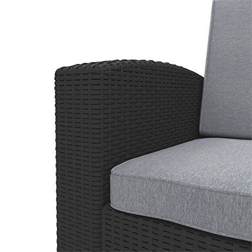 2pc-All-Weather-Black-Loveseat-Patio-Set-with-Light-Grey-Cushions-0-1