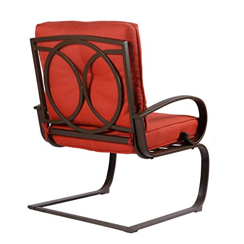 3-Piece-Outdoor-Bistro-Furniture-Patio-Set-Cafe-Garden-Yard-Pool-Iron-Table-with-Cushioned-armrest-Seats-Brick-Red-Cushion-Square-Table-0-2