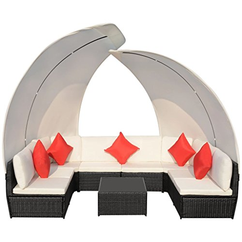 34-Pieces-Outdoor-Lounge-Set-with-Canopies-Black-Poly-Rattan-Sofa-Made-of-Weather-resistant-and-Waterproof-PE-Rattan-Paito-Lounge-Set-0-2