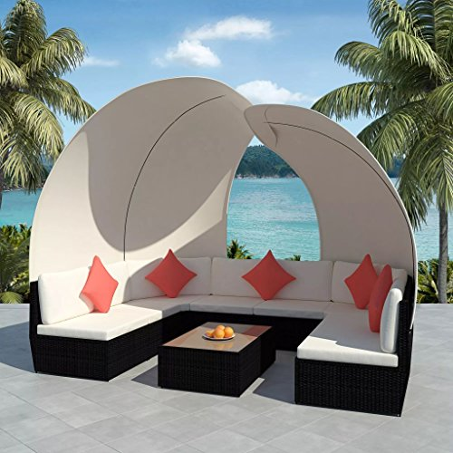 34-Pieces-Outdoor-Lounge-Set-with-Canopies-Black-Poly-Rattan-Sofa-Made-of-Weather-resistant-and-Waterproof-PE-Rattan-Paito-Lounge-Set-0