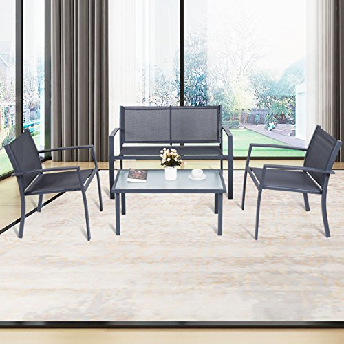 4-PCS-Patio-Furniture-Set-Tempered-Glass-Table-Loveseat-Chairs-Steel-Indoor-Outdoor-0-1