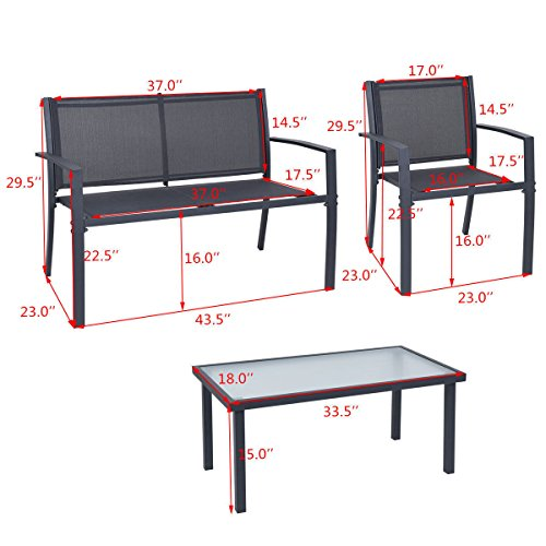 4-PCS-Patio-Furniture-Set-Tempered-Glass-Table-Loveseat-Chairs-Steel-Indoor-Outdoor-0-2