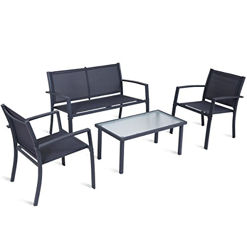 4-PCS-Patio-Furniture-Set-Tempered-Glass-Table-Loveseat-Chairs-Steel-Indoor-Outdoor-0
