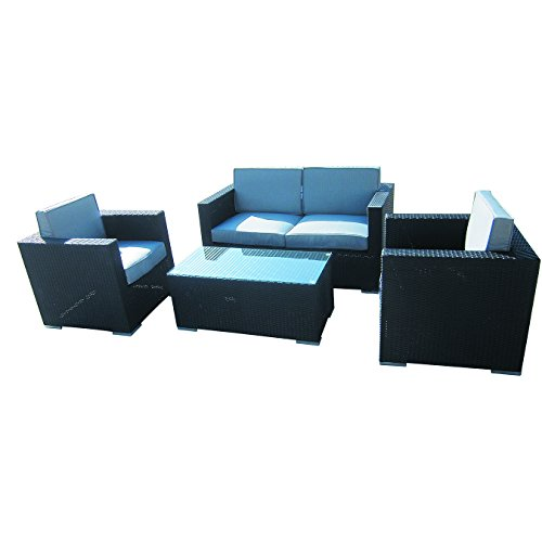 4-Piece-Cushioned-Outdoor-Rattan-Wicker-Love-Seat-2-chair-Coffee-Table-Patio-Furniture-Set-Black-with-Grey-Cushions-No-Assembly-Required-0-0
