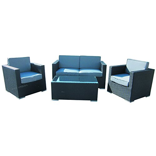 4-Piece-Cushioned-Outdoor-Rattan-Wicker-Love-Seat-2-chair-Coffee-Table-Patio-Furniture-Set-Black-with-Grey-Cushions-No-Assembly-Required-0-2