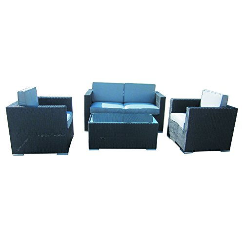 4-Piece-Cushioned-Outdoor-Rattan-Wicker-Love-Seat-2-chair-Coffee-Table-Patio-Furniture-Set-Black-with-Grey-Cushions-No-Assembly-Required-0