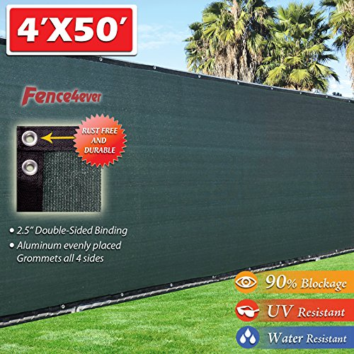 4-x-50-3rd-Gen-Olive-Dark-Green-Fence-Privacy-Screen-Windscreen-Fabric-Mesh-Tarp-Aluminum-Grommets-0
