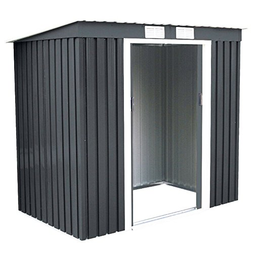 4X7-Outdoor-Garden-Storage-Shed-Tool-House-Sliding-Door-Metal-Dark-Gray-New-0-1