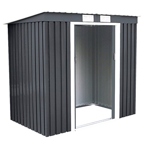 4X7-Outdoor-Garden-Storage-Shed-Tool-House-Sliding-Door-Metal-Dark-Gray-New-0-3