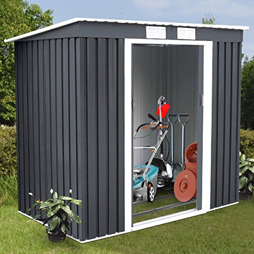 4X7-Outdoor-Garden-Storage-Shed-Tool-House-Sliding-Door-Metal-Dark-Gray-New-0-4