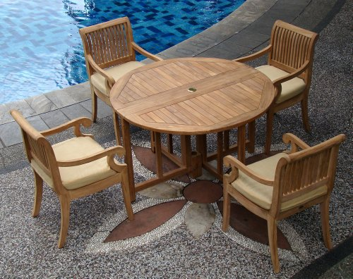 5-Pc-Grade-A-Teak-Wood-Dining-Set-48-Round-Butterfly-Folding-Table-And-4-Giva-Captain-Arm-Chairs-WHDSGV2-0-0