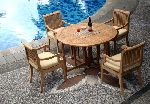 5-Pc-Grade-A-Teak-Wood-Dining-Set-48-Round-Butterfly-Folding-Table-And-4-Giva-Captain-Arm-Chairs-WHDSGV2-0
