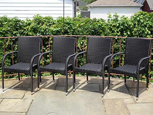 5-Pc-Patio-Resin-Outdoor-Wicker-Dining-Set-Round-Table-wGlass4-Arm-Chair-Black-Color-0-1