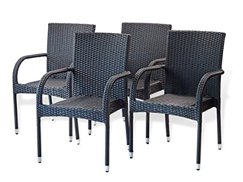 5-Pc-Patio-Resin-Outdoor-Wicker-Dining-Set-Round-Table-wGlass4-Arm-Chair-Black-Color-0-2