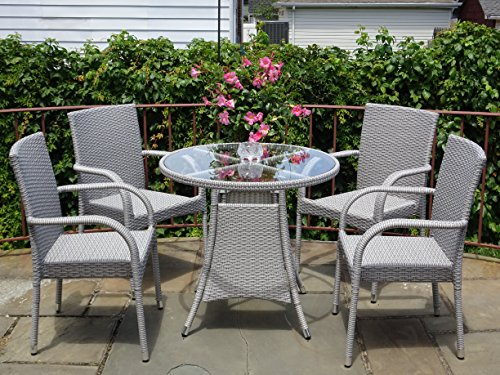 5-Pc-Patio-Resin-Outdoor-Wicker-Dining-Set-Round-Table-wGlass4-Arm-Chair-Gray-Color-0-1