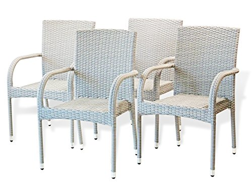 5-Pc-Patio-Resin-Outdoor-Wicker-Dining-Set-Round-Table-wGlass4-Arm-Chair-Gray-Color-0-2