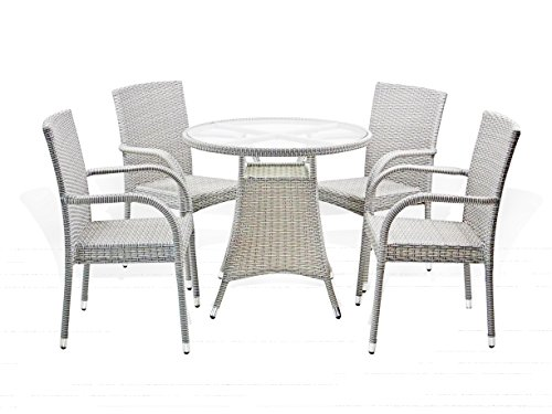 5-Pc-Patio-Resin-Outdoor-Wicker-Dining-Set-Round-Table-wGlass4-Arm-Chair-Gray-Color-0