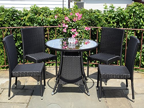 5-Pc-Patio-Resin-Outdoor-Wicker-Dining-Set-Round-Table-wGlass4-Side-Chair-Black-Color-0-0