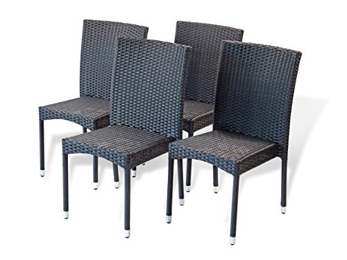 5-Pc-Patio-Resin-Outdoor-Wicker-Dining-Set-Round-Table-wGlass4-Side-Chair-Black-Color-0-1