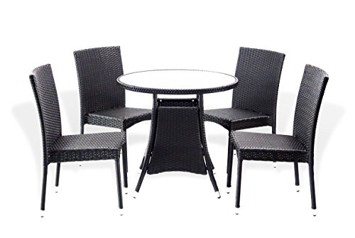 5-Pc-Patio-Resin-Outdoor-Wicker-Dining-Set-Round-Table-wGlass4-Side-Chair-Black-Color-0