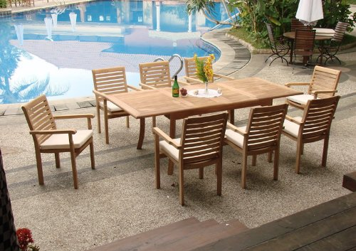 7-Pc-Grade-A-Teak-Wood-Dining-Set-94-Rectangle-Table-and-6-Hari-Stacking-Arm-Chairs-WFDSHR5-0-0