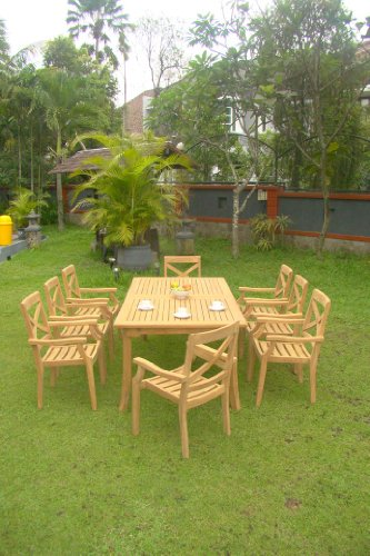 9-Pc-Grade-A-Teak-Wood-Dining-Set-117-Rectangle-Table-And-8-Granada-Stacking-Arm-Chairs-WFDSGR3-0