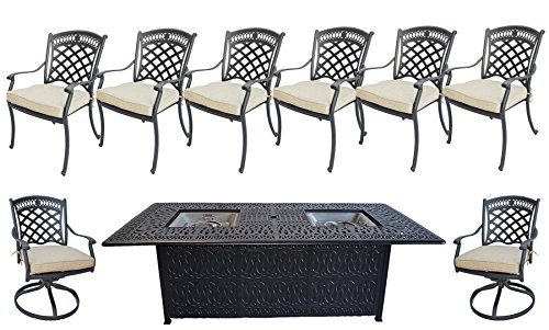 9-Piece-Outdoor-Dining-Set-Elisabeth-Cast-Aluminum-Powder-Coated-Frame-Propane-Fire-Pit-Double-Burner-Table-Sunbrella-seat-cushions-0