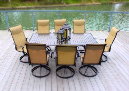 9pc-Cast-Aluminum-Swivel-Patio-Furniture-Dining-Set-with-Slat-Top-Table-Bronze-0