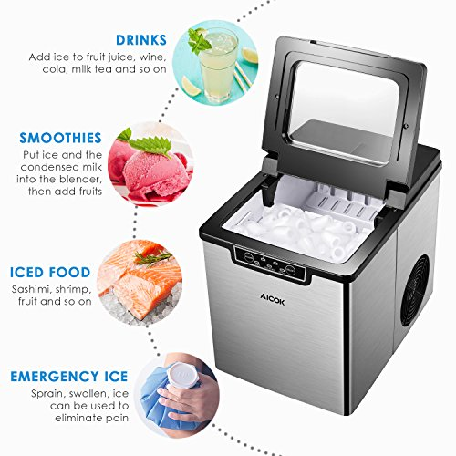 AICOK-Ice-Maker-Quiet-Ice-Maker-Machine-Stainless-Steel-Ice-Cube-Maker-26-Pounds-of-Ice-in-24-Hours-9-Ice-Cubes-Within-6-14-Minutes-2-Quart-Water-Tank-Ice-Scoop-Silver-0-0