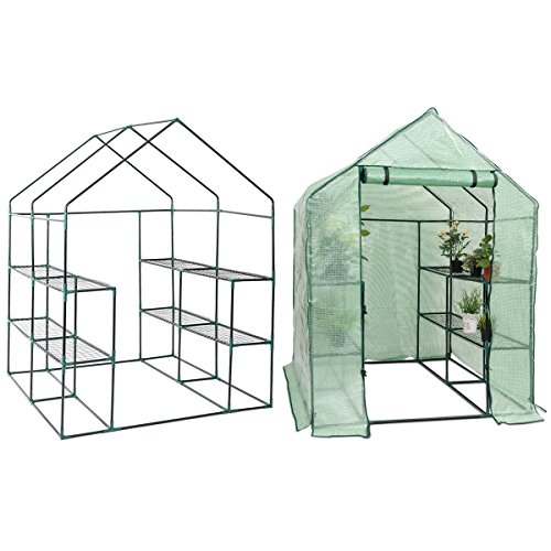 AK-Energy-8-Shelves-2-Tier-Greenhouse-Portable-Mini-Walk-In-Outdoor-Green-House-Zippered-Entrance-0
