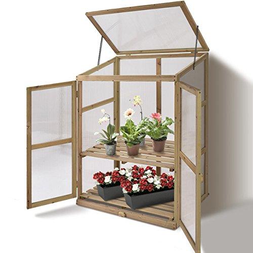 AK-Energy-Mini-Garden-Portable-Wooden-GreenHouse-Cold-Frame-Raised-Plants-Shelves-2-Double-Lock-Doors-0
