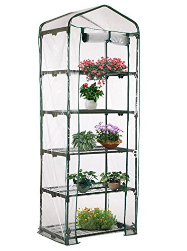 AdvancedShop-69-x-49-x-187cm-Apex-Roof-5-Tiers-Garden-Greenhouse-Hot-Plant-House-Shelf-Shed-Clear-PVC-Cover-by-0