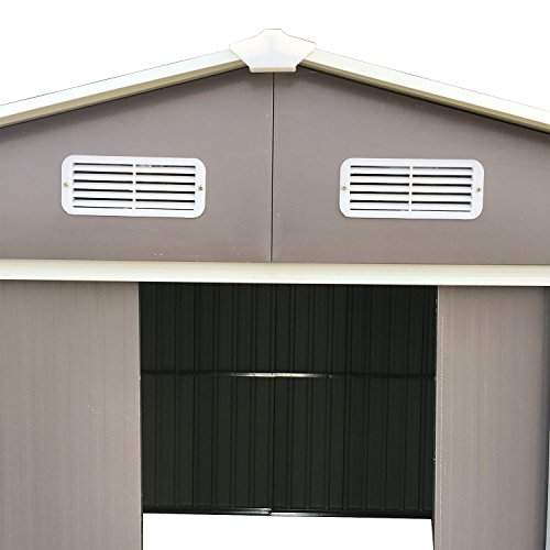 Ainfox-Steel-Toolsheds-Storage-Window-Utility-for-Outdoor-Garden-Backyard-Lawn-Warm-Grey-0-0