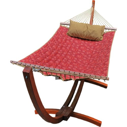 Algoma-6710159SP-Wooden-Arc-Frame-Hammock-and-Pillow-Combo-12-Feet-Red-Pattern-Fabric-0