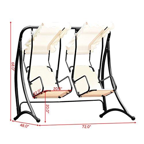 Almacn-2-Persons-Outdoor-Canopy-Loveseat-Patio-Swing-Chair-Glider-Hammock-Patio-Yard-Backyard-Lawn-Deck-Garden-Porch-Pool-Side-Furniture-Heavy-Duty-Steel-Frame-300LBS-Weight-Capacity-Per-Chair-0-0