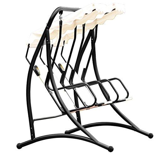 Almacn-2-Persons-Outdoor-Canopy-Loveseat-Patio-Swing-Chair-Glider-Hammock-Patio-Yard-Backyard-Lawn-Deck-Garden-Porch-Pool-Side-Furniture-Heavy-Duty-Steel-Frame-300LBS-Weight-Capacity-Per-Chair-0-2