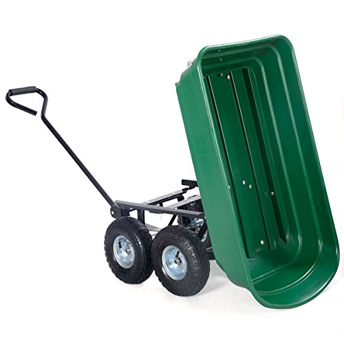 AyaMastro-Green-Garden-Dump-Cart-Wagon-Dumper-Carrier-Wheel-Barrow-Capacity-650LB-wHandle-0