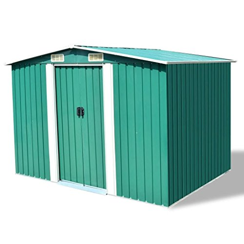 BLXCOMUS-Outdoor-Green-Garden-Storage-Shed-Metal-Garage-Storage-Organizer-Large-House-With-4-VentsDouble-Silding-DoorsSize1012x807x701-0