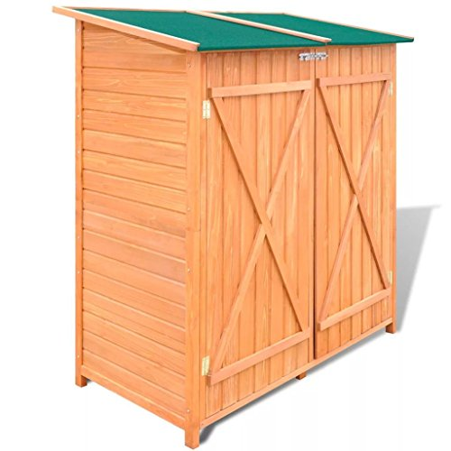 BLXCOMUS-Outdoor-Wooden-Storage-Shed-Garden-Tool-Garage-Storage-Organizer-2-layer-Cabinet-Large-Room-With-Size543-x-258-x-63Double-DoorLockable-Door-Latches-0-0