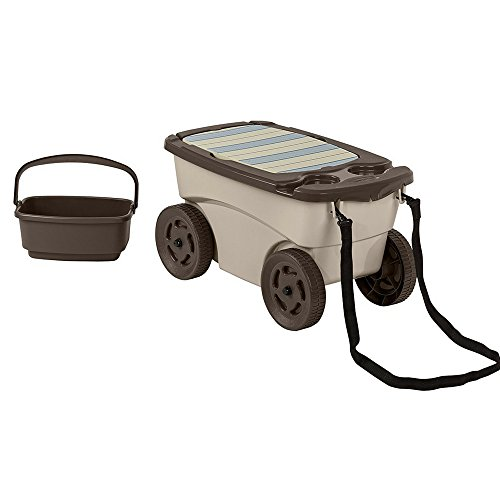 BS-Outdoor-Utility-Cart-with-Seat-Cup-Holders-Pull-strap-Easy-Transport-Kneeling-Pad-Tool-Basket-Organize-Garden-Back-Yards-Garages-Basements-Resin-eBook-by-BADA-shop-0