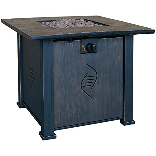 Bond-Manufacturing-68487A-lari-Outdoor-Gas-Fire-Pit-Table-with-Antique-Wooden-Finish-242-Inches-by-30-Inches-by-30-Inches-0