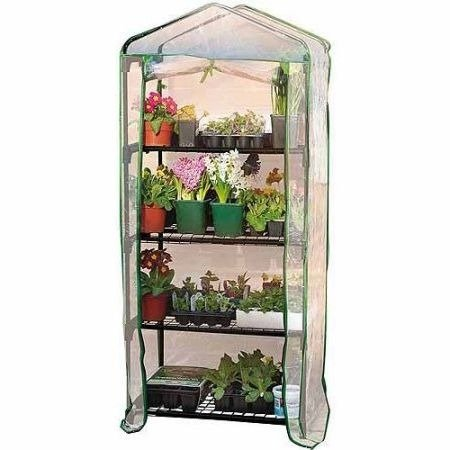 By-Garden-Essentials-Mini-GreenhousePortableClear4-Tier-Steel-Frame53-H-0