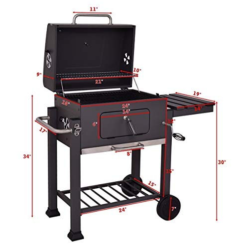 COSTWAY Charcoal Grill Outdoor Patio Barbecue BBQ Grill