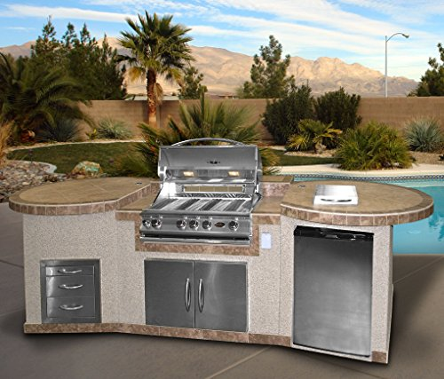 Cal-Flame-3-Piece-Outdoor-Kitchen-Island-e3022-with-4-Burner-Built-in-Grill-30-Double-Access-Stainless-Steel-Door-Refrigerator-with-Two-Tone-Tile-and-Ameristucco-Base-with-Under-Counter-Lights-0