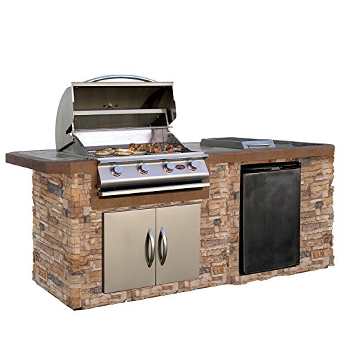 Cal-Flame-LBK-710-A-Stucco-Grill-Island-With-Tile-Top-And-4-Burner-Stainless-Steel-Gas-Grill-0