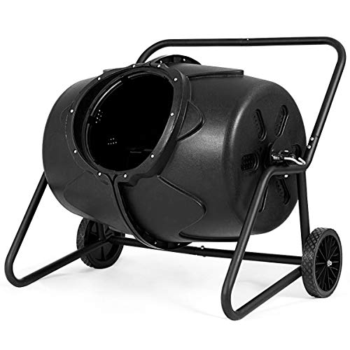 Caraya-Wheeled-Compost-Tumbler-Garden-Waste-Bin-Grass-Trash-Barrel-Fertilizer-50-Gallon-0