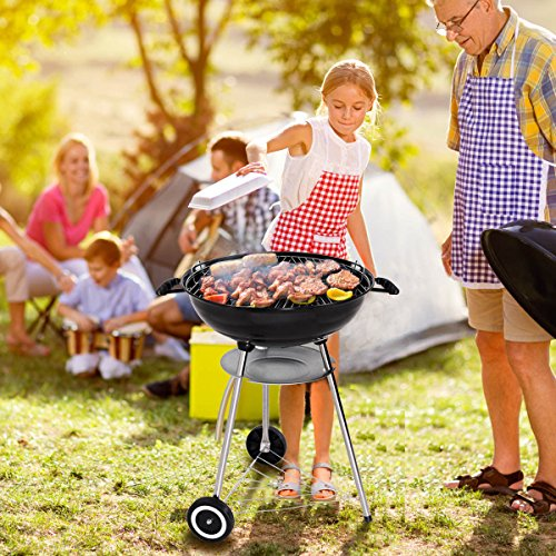 Charcoal-Grill-BBQ-Outdoor-Backyard-Cooking-with-Wheels-Black-225-Inch-0-2