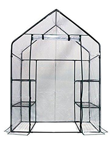Clear-GreenhousePortable-with-3-Tiers-6-ShelvesRoll-up-Door-56×29-0