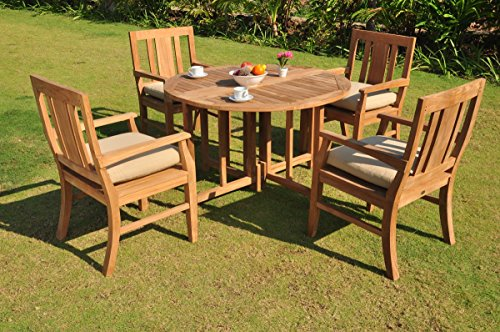 Clearance-5-Pc-Grade-A-Teak-Wood-Dining-Set-48-Round-Butterfly-Table-And-4-Osborne-Arm-Chairs-WFDSOS3-0